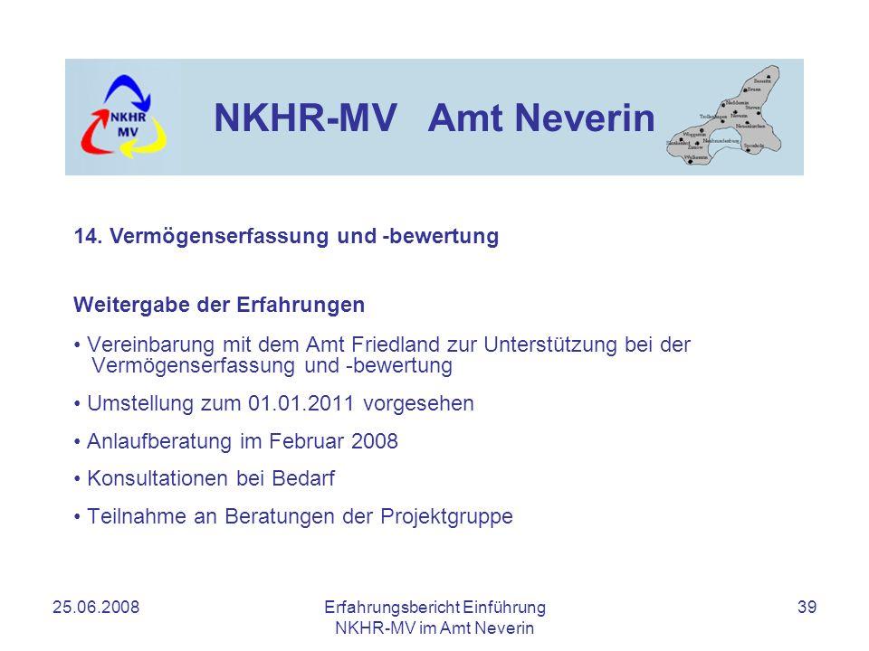 25.06.2008Erfahrungsbericht Einführung NKHR-MV im Amt Neverin 39 NKHR-MV Amt Neverin Weitergabe der Erfahrungen Vereinbarung mit dem Amt Friedland zur