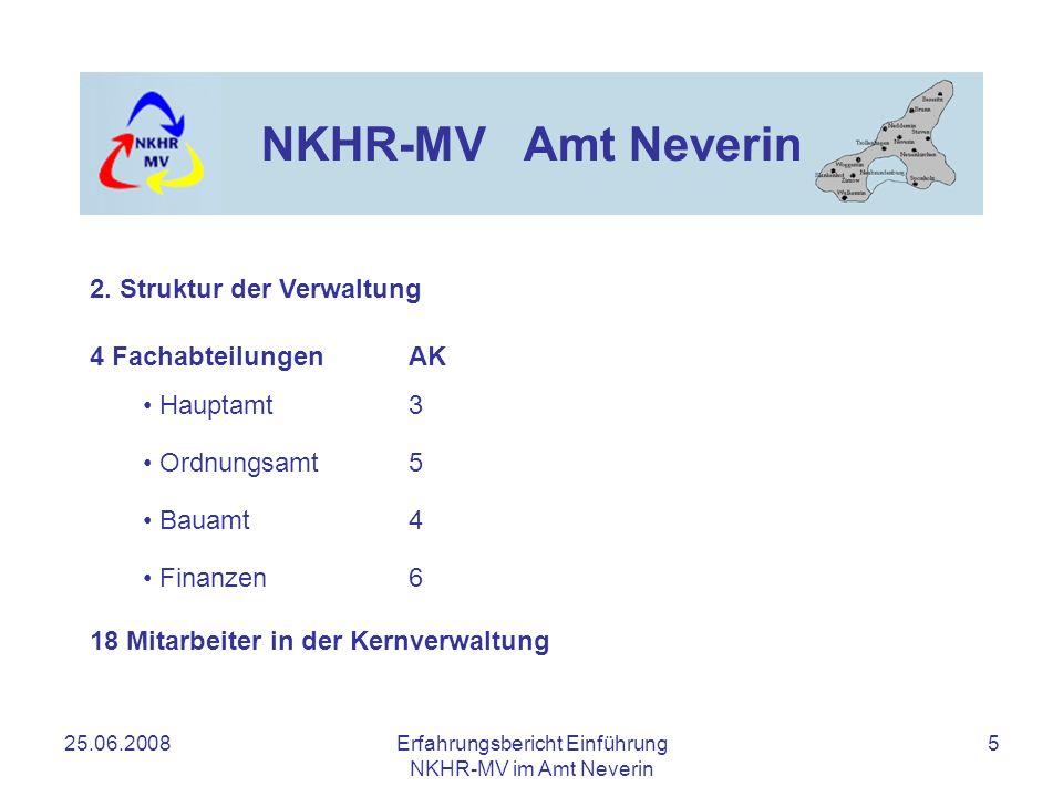 25.06.2008Erfahrungsbericht Einführung NKHR-MV im Amt Neverin 6 NKHR-MV Amt Neverin Mitarbeiter in der Fachabteilung Finanzen Kämmerei1 Kasse2 Liegenschaften1 Anlagenbuchhaltung / IT1 Steuern1 2.