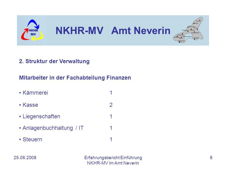 25.06.2008Erfahrungsbericht Einführung NKHR-MV im Amt Neverin 6 NKHR-MV Amt Neverin Mitarbeiter in der Fachabteilung Finanzen Kämmerei1 Kasse2 Liegens