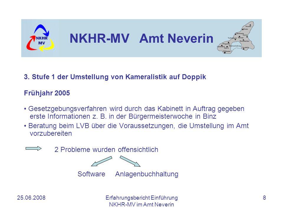 25.06.2008Erfahrungsbericht Einführung NKHR-MV im Amt Neverin 8 NKHR-MV Amt Neverin Frühjahr 2005 Gesetzgebungsverfahren wird durch das Kabinett in Au