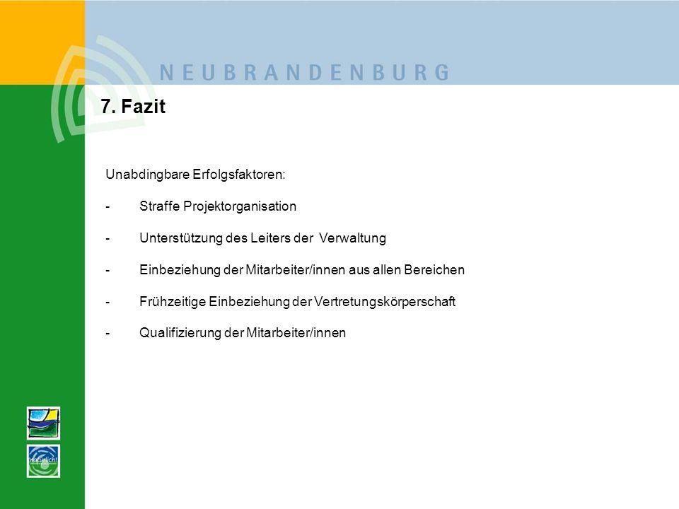 7. Fazit Unabdingbare Erfolgsfaktoren: -Straffe Projektorganisation -Unterstützung des Leiters der Verwaltung -Einbeziehung der Mitarbeiter/innen aus