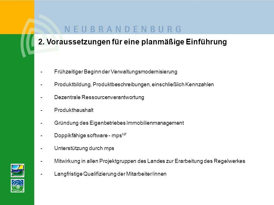 2. Voraussetzungen für eine planmäßige Einführung -Frühzeitiger Beginn der Verwaltungsmodernisierung -Produktbildung, Produktbeschreibungen, einschlie