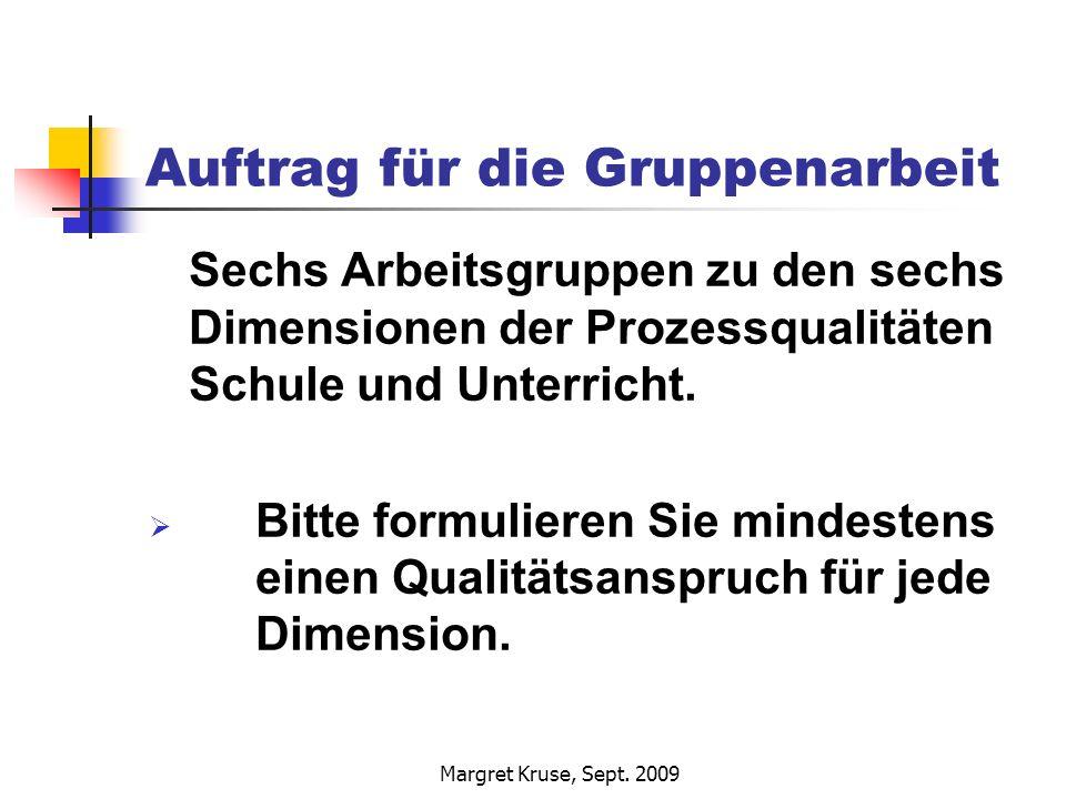 Margret Kruse, Sept. 2009 Auftrag für die Gruppenarbeit Sechs Arbeitsgruppen zu den sechs Dimensionen der Prozessqualitäten Schule und Unterricht. Bit