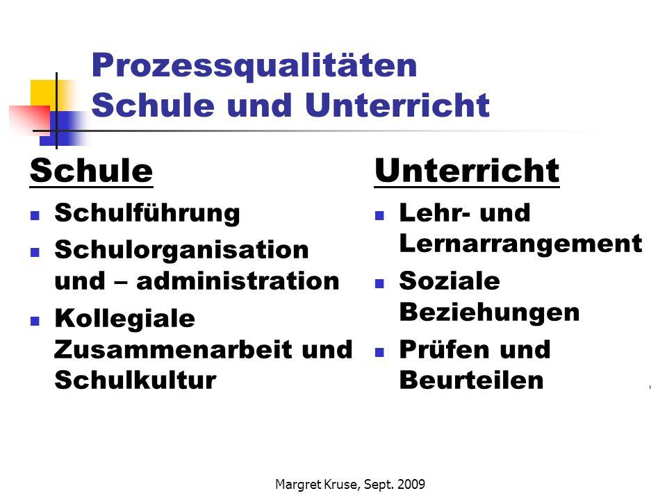 Margret Kruse, Sept. 2009 Prozessqualitäten Schule und Unterricht Schule Schulführung Schulorganisation und – administration Kollegiale Zusammenarbeit