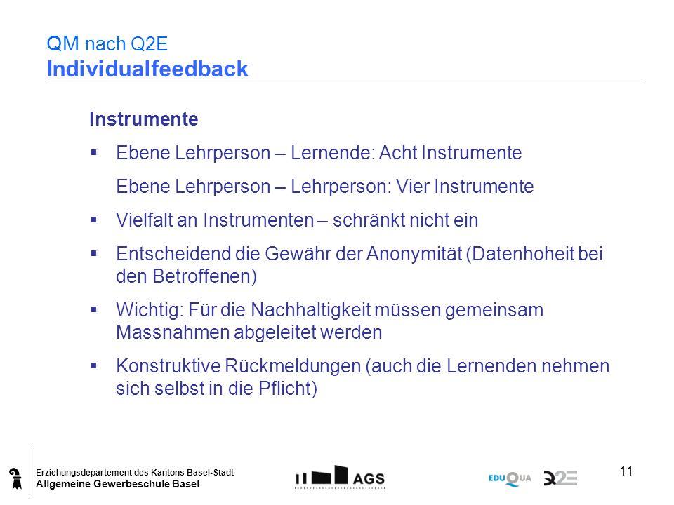 Erziehungsdepartement des Kantons Basel-Stadt Allgemeine Gewerbeschule Basel 11 QM nach Q2E Individualfeedback Instrumente Ebene Lehrperson – Lernende