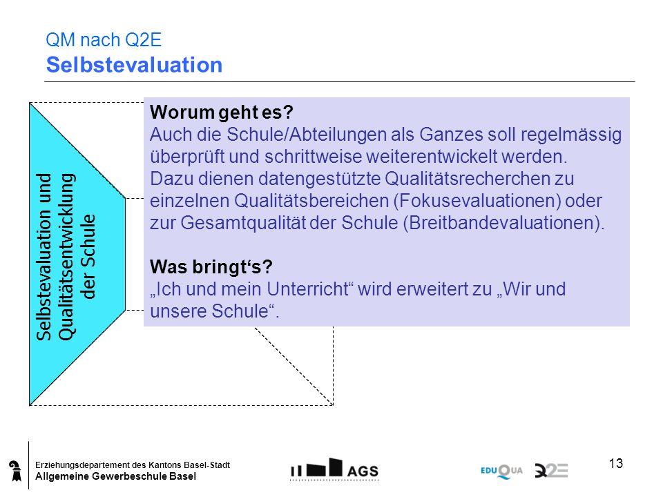 Erziehungsdepartement des Kantons Basel-Stadt Allgemeine Gewerbeschule Basel 13 QM nach Q2E Selbstevaluation Selbstevaluation und Qualitätsentwicklung
