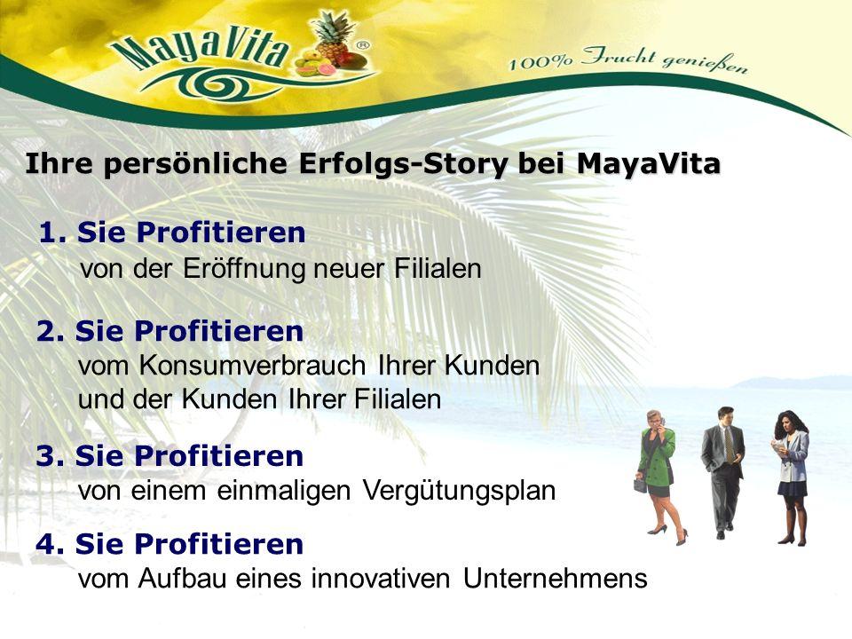 1. Sie Profitieren von der Eröffnung neuer Filialen Ihre persönliche Erfolgs-Story bei MayaVita 4. Sie Profitieren vom Aufbau eines innovativen Untern