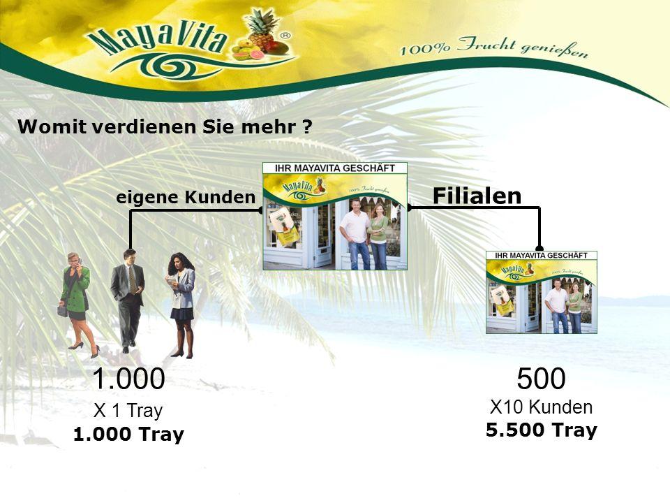 Filialen eigene Kunden Womit verdienen Sie mehr ? 1.000 X 1 Tray 1.000 Tray 500 X10 Kunden 5.500 Tray
