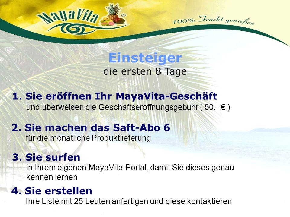 Einsteiger die ersten 8 Tage 1. Sie eröffnen Ihr MayaVita-Geschäft und überweisen die Geschäftseröffnungsgebühr ( 50.- ) 2. Sie machen das Saft-Abo 6