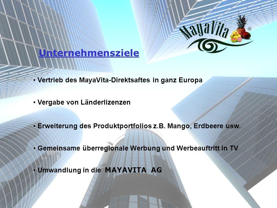 Unternehmensziele Vertrieb des MayaVita-Direktsaftes in ganz Europa Vergabe von Länderlizenzen Erweiterung des Produktportfolios z.B. Mango, Erdbeere