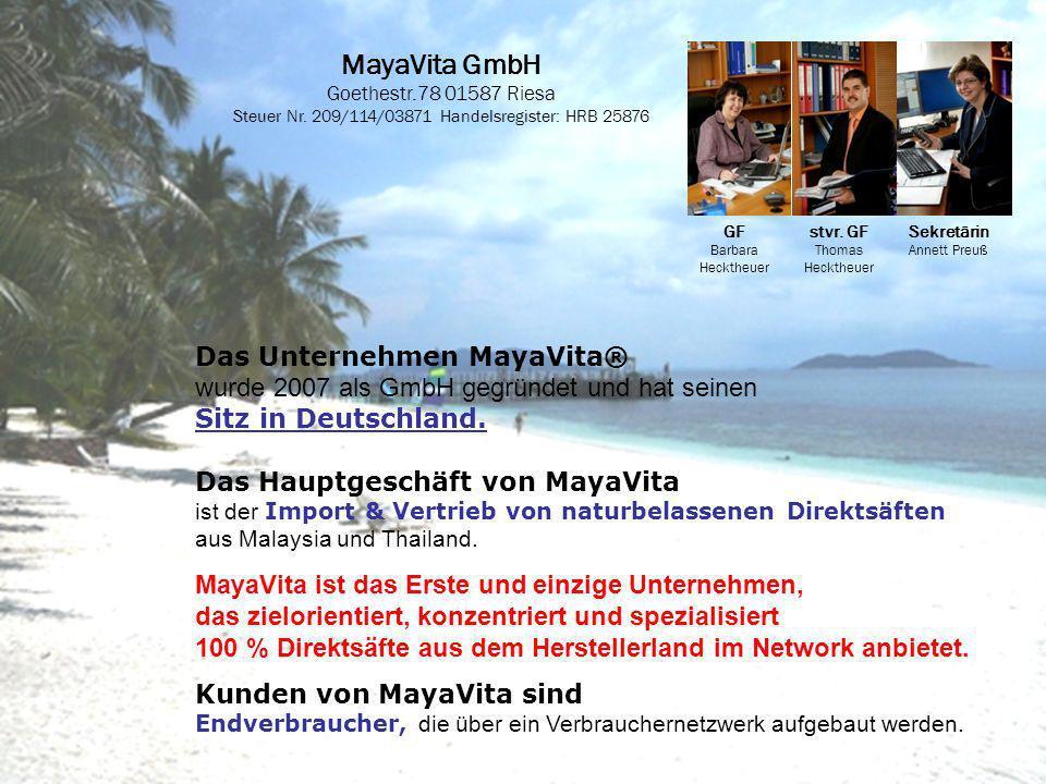 MayaVita GmbH Goethestr.78 01587 Riesa Steuer Nr. 209/114/03871 Handelsregister: HRB 25876 GF Barbara Hecktheuer stvr. GF Thomas Hecktheuer Sekretärin