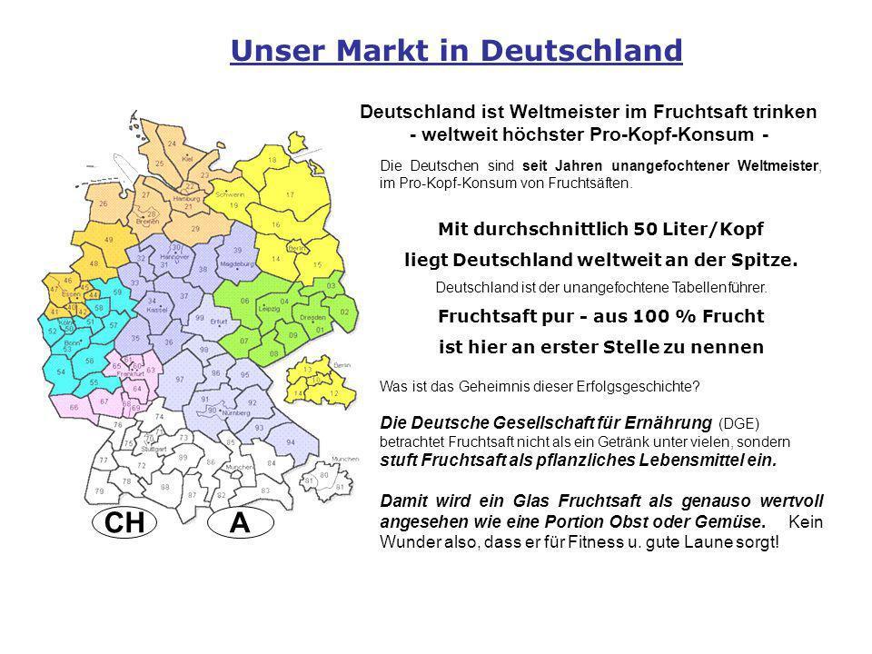 ACH Unser Markt in Deutschland Deutschland ist Weltmeister im Fruchtsaft trinken - weltweit höchster Pro-Kopf-Konsum - Die Deutschen sind seit Jahren