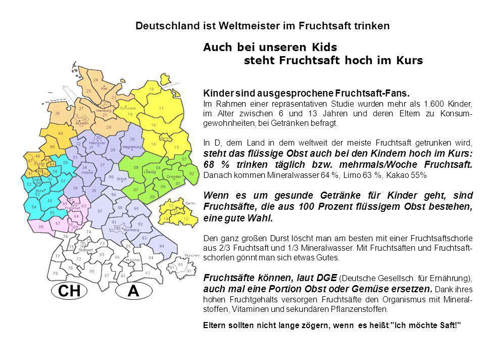ACH Deutschland ist Weltmeister im Fruchtsaft trinken Kinder sind ausgesprochene Fruchtsaft-Fans. Im Rahmen einer repräsentativen Studie wurden mehr a