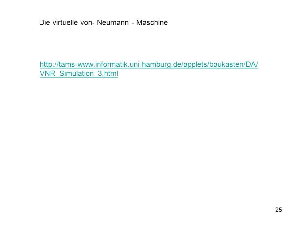 25 http://tams-www.informatik.uni-hamburg.de/applets/baukasten/DA/ VNR_Simulation_3.html Die virtuelle von- Neumann - Maschine