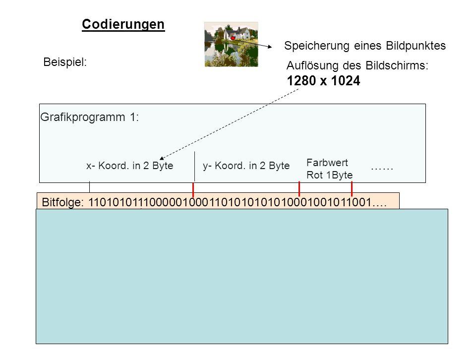 27 Codierungen Bitfolge: 11010101110000010001101010101010001001011001…. Beispiel: Speicherung eines Bildpunktes Grafikprogramm 1: Auflösung des Bildsc