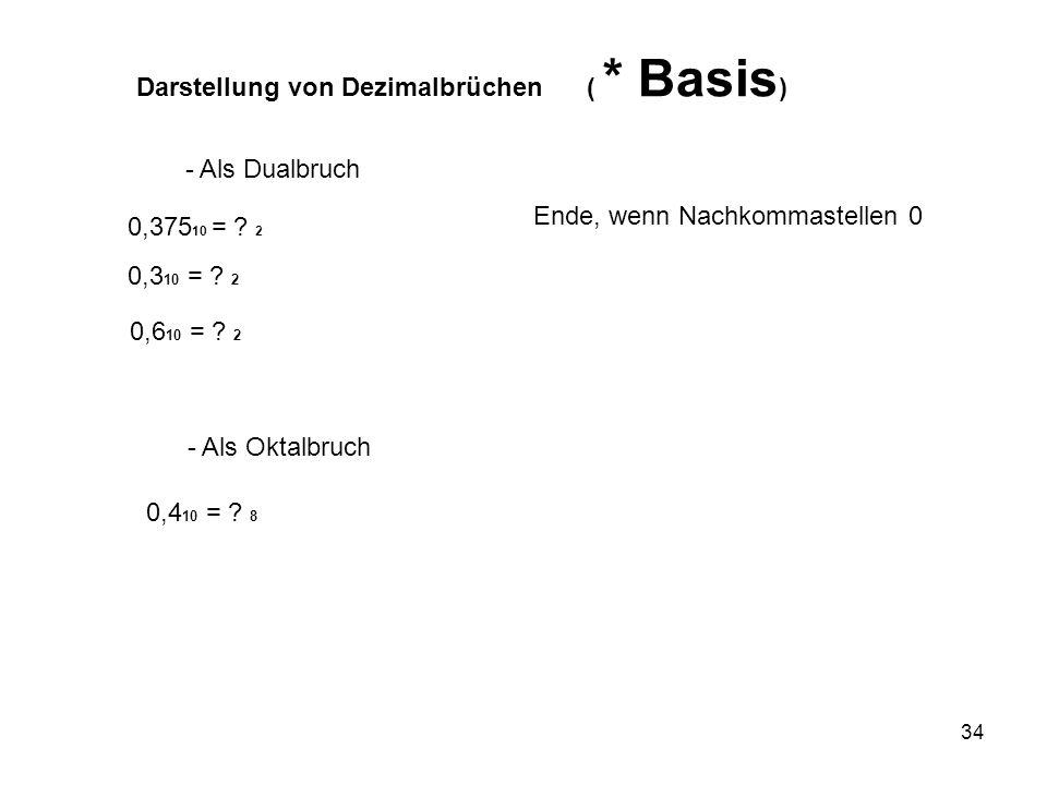 34 Darstellung von Dezimalbrüchen ( * Basis ) - Als Dualbruch 0,375 10 = ? 2 0,3 10 = ? 2 Ende, wenn Nachkommastellen 0 - Als Oktalbruch 0,4 10 = ? 8
