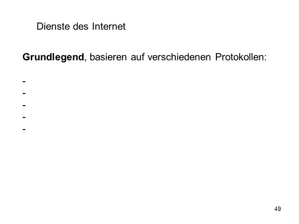 49 Dienste des Internet Grundlegend, basieren auf verschiedenen Protokollen: -