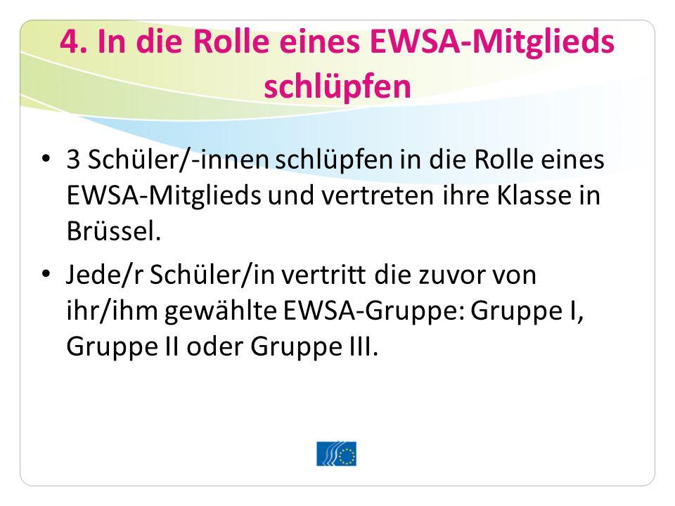 4. In die Rolle eines EWSA-Mitglieds schlüpfen 3 Schüler/-innen schlüpfen in die Rolle eines EWSA-Mitglieds und vertreten ihre Klasse in Brüssel. Jede