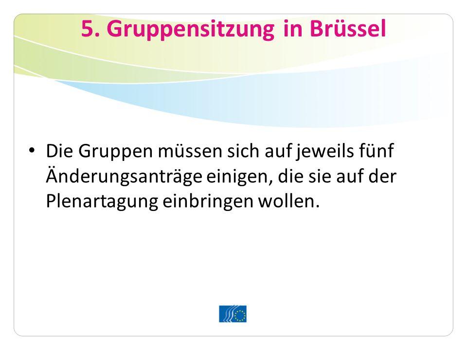 5. Gruppensitzung in Brüssel Die Gruppen müssen sich auf jeweils fünf Änderungsanträge einigen, die sie auf der Plenartagung einbringen wollen.