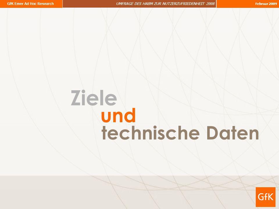 GfK Emer Ad Hoc Research UMFRAGE DES HABM ZUR NUTZERZUFRIEDENHEIT 2008 Februar 2009 Ziele technische Daten und