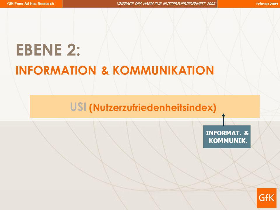 GfK Emer Ad Hoc Research UMFRAGE DES HABM ZUR NUTZERZUFRIEDENHEIT 2008 Februar 2009 EBENE 2: INFORMATION & KOMMUNIKATION USI (Nutzerzufriedenheitsinde