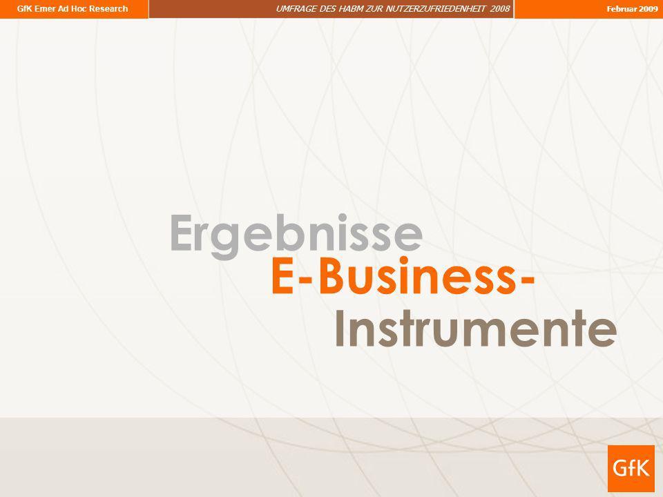 GfK Emer Ad Hoc Research UMFRAGE DES HABM ZUR NUTZERZUFRIEDENHEIT 2008 Februar 2009 Ergebnisse Instrumente E-Business-