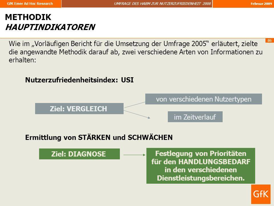 GfK Emer Ad Hoc Research UMFRAGE DES HABM ZUR NUTZERZUFRIEDENHEIT 2008 Februar 2009 86 Wie im Vorläufigen Bericht für die Umsetzung der Umfrage 2005 e