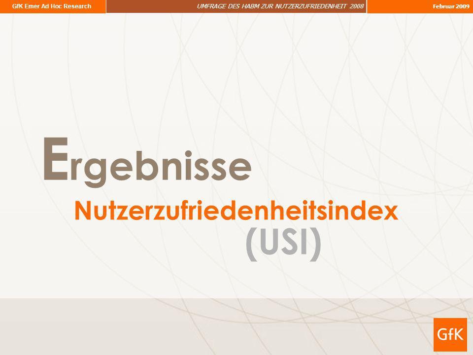 GfK Emer Ad Hoc Research UMFRAGE DES HABM ZUR NUTZERZUFRIEDENHEIT 2008 Februar 2009 E rgebnisse Nutzerzufriedenheitsindex (USI)