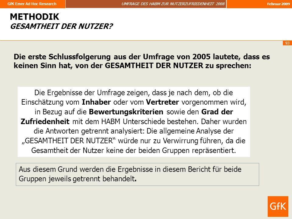 GfK Emer Ad Hoc Research UMFRAGE DES HABM ZUR NUTZERZUFRIEDENHEIT 2008 Februar 2009 93 Die Ergebnisse der Umfrage zeigen, dass je nach dem, ob die Ein