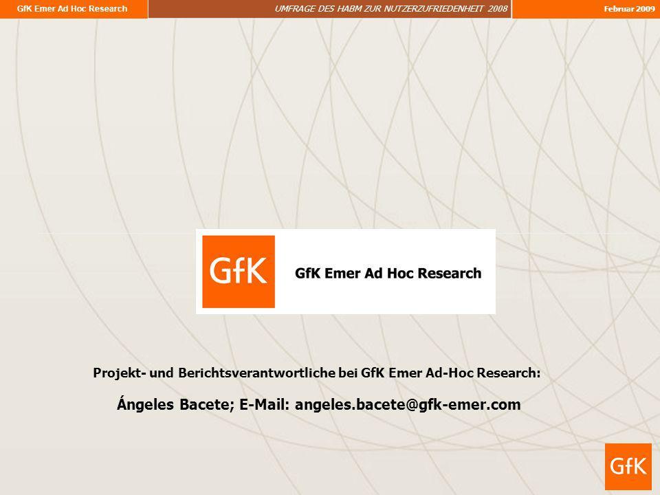 GfK Emer Ad Hoc Research UMFRAGE DES HABM ZUR NUTZERZUFRIEDENHEIT 2008 Februar 2009 Projekt- und Berichtsverantwortliche bei GfK Emer Ad-Hoc Research: