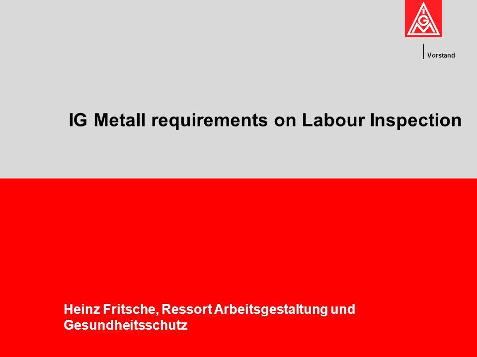 Vorstand IG Metall requirements on Labour Inspection Heinz Fritsche, Ressort Arbeitsgestaltung und Gesundheitsschutz