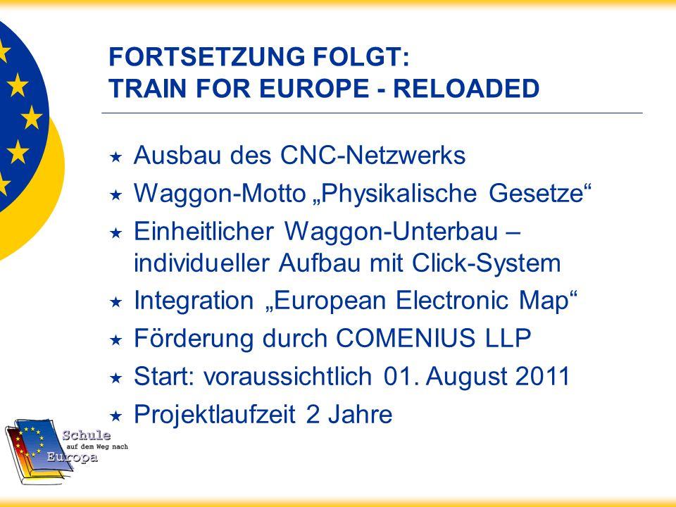 FORTSETZUNG FOLGT: TRAIN FOR EUROPE - RELOADED Ausbau des CNC-Netzwerks Waggon-Motto Physikalische Gesetze Einheitlicher Waggon-Unterbau – individuell