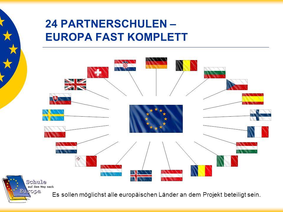24 PARTNERSCHULEN – EUROPA FAST KOMPLETT Es sollen möglichst alle europäischen Länder an dem Projekt beteiligt sein.