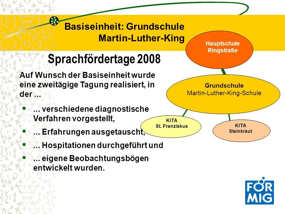 Sprachfördertage 2008 Basiseinheit: Grundschule Martin-Luther-King KITA St. Franziskus Grundschule Martin-Luther-King-Schule Hauptschule Ringstraße KI