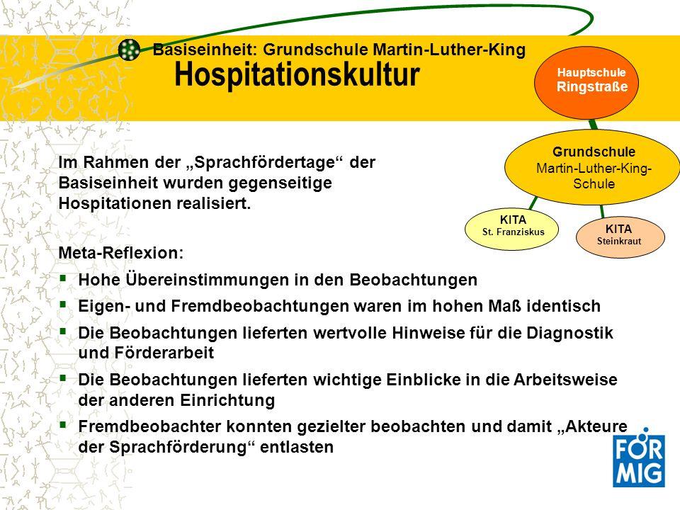 Im Rahmen der Sprachfördertage der Basiseinheit wurden gegenseitige Hospitationen realisiert. Hospitationskultur Basiseinheit: Grundschule Martin-Luth
