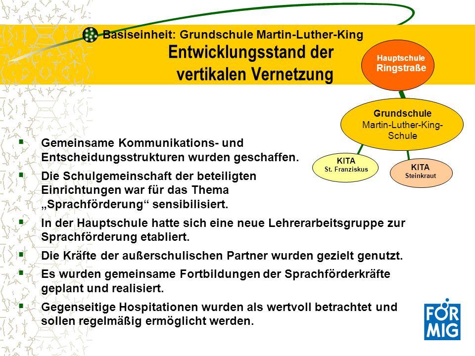 Gemeinsame Kommunikations- und Entscheidungsstrukturen wurden geschaffen. Die Schulgemeinschaft der beteiligten Einrichtungen war für das Thema Sprach