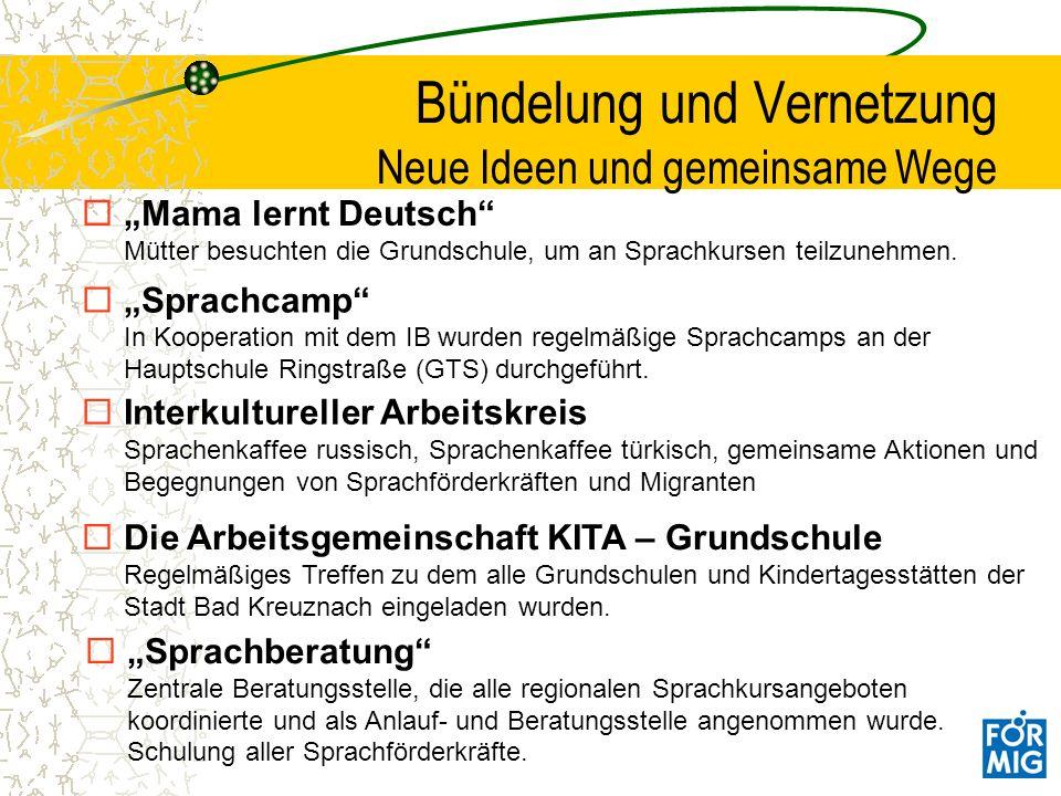 Mama lernt Deutsch Mütter besuchten die Grundschule, um an Sprachkursen teilzunehmen. Bündelung und Vernetzung Neue Ideen und gemeinsame Wege Sprachca