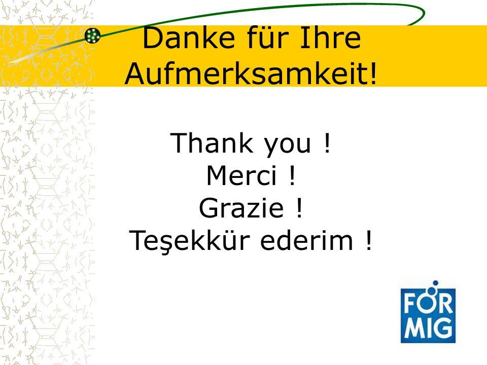 Danke für Ihre Aufmerksamkeit! Thank you ! Merci ! Grazie ! Teşekkür ederim !
