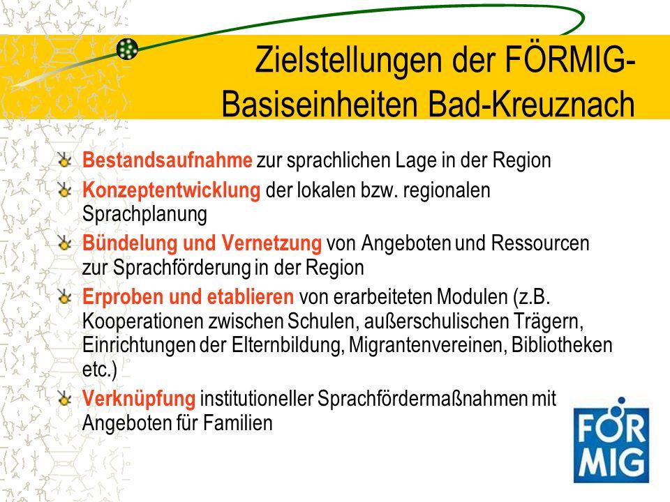 Zielstellungen der FÖRMIG- Basiseinheiten Bad-Kreuznach Bestandsaufnahme zur sprachlichen Lage in der Region Konzeptentwicklung der lokalen bzw. regio