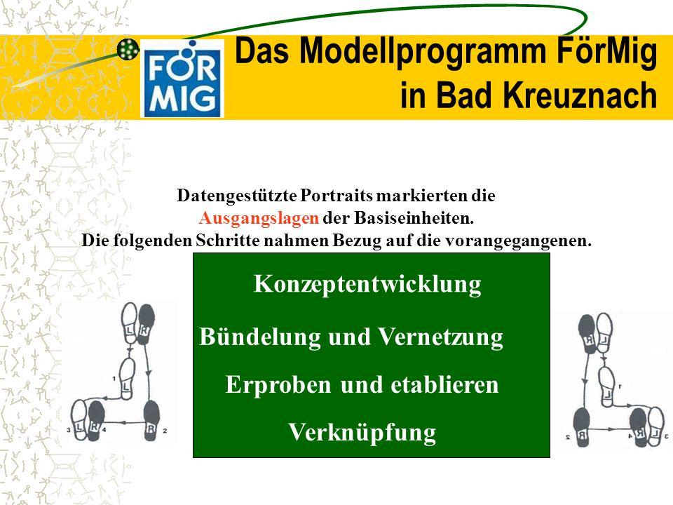 Das Modellprogramm FörMig in Bad Kreuznach Datengestützte Portraits markierten die Ausgangslagen der Basiseinheiten. Die folgenden Schritte nahmen Bez