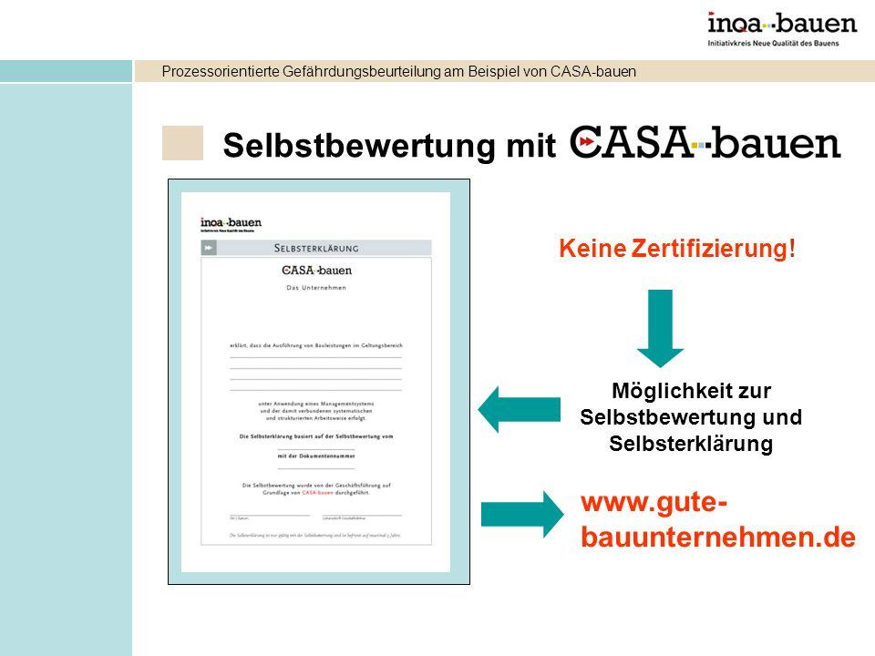 Selbstbewertung mit Möglichkeit zur Selbstbewertung und Selbsterklärung Keine Zertifizierung! www.gute- bauunternehmen.de Prozessorientierte Gefährdun