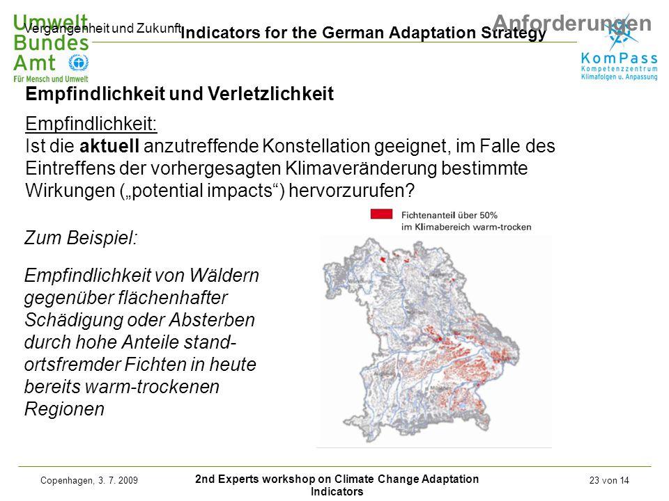 2nd Experts workshop on Climate Change Adaptation Indicators Indicators for the German Adaptation Strategy Copenhagen, 3. 7. 200923 von 14 Empfindlich
