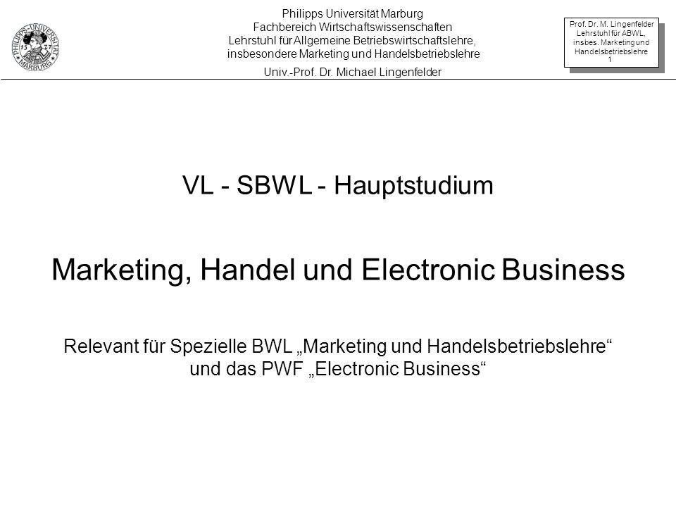 Prof. Dr. M. Lingenfelder Lehrstuhl für ABWL, insbes. Marketing und Handelsbetriebslehre 1 VL - SBWL - Hauptstudium Marketing, Handel und Electronic B