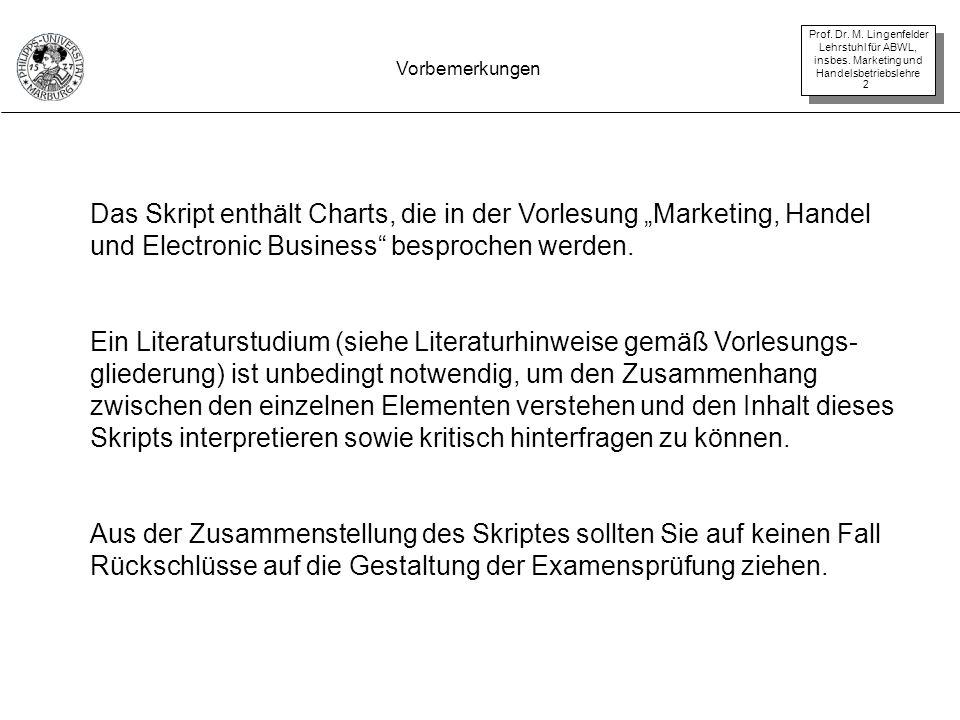 Prof. Dr. M. Lingenfelder Lehrstuhl für ABWL, insbes. Marketing und Handelsbetriebslehre 2 Vorbemerkungen Das Skript enthält Charts, die in der Vorles