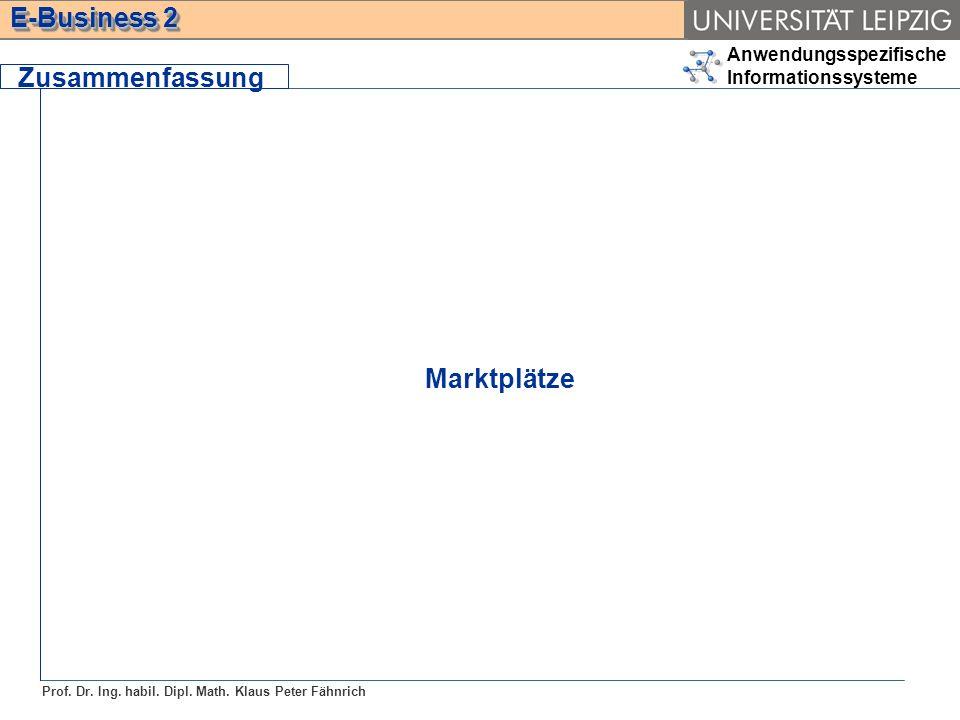 Anwendungsspezifische Informationssysteme Prof. Dr. Ing. habil. Dipl. Math. Klaus Peter Fähnrich E-Business 2 Zusammenfassung Marktplätze