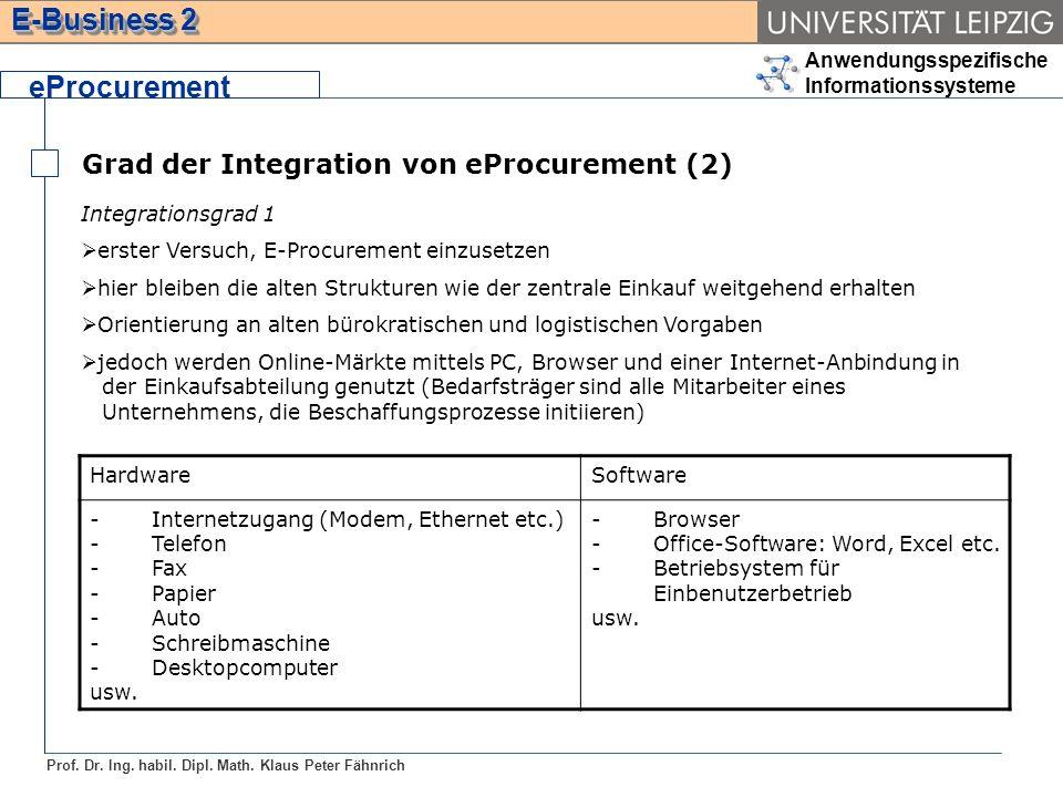Anwendungsspezifische Informationssysteme Prof. Dr. Ing. habil. Dipl. Math. Klaus Peter Fähnrich E-Business 2 Grad der Integration von eProcurement (2