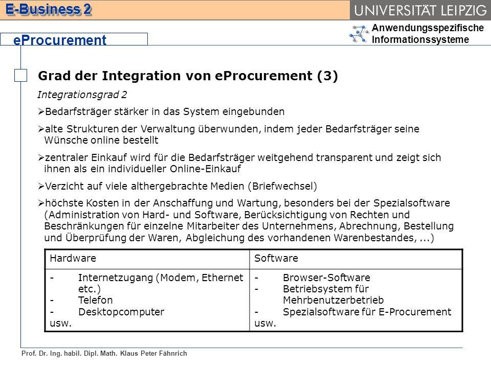 Anwendungsspezifische Informationssysteme Prof. Dr. Ing. habil. Dipl. Math. Klaus Peter Fähnrich E-Business 2 Grad der Integration von eProcurement (3