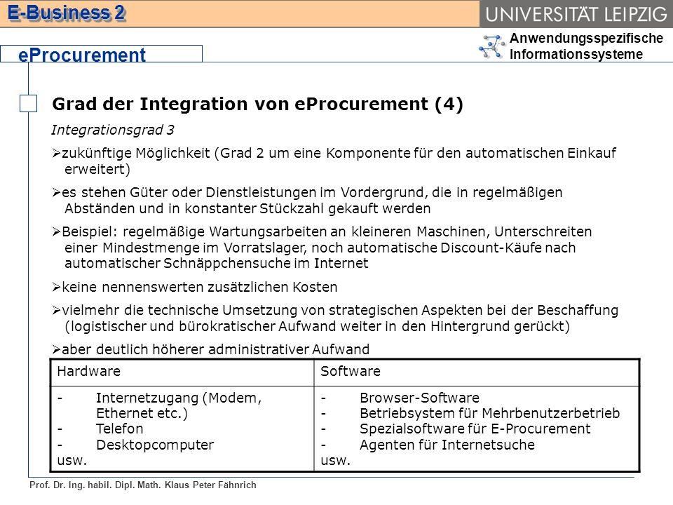 Anwendungsspezifische Informationssysteme Prof. Dr. Ing. habil. Dipl. Math. Klaus Peter Fähnrich E-Business 2 Grad der Integration von eProcurement (4
