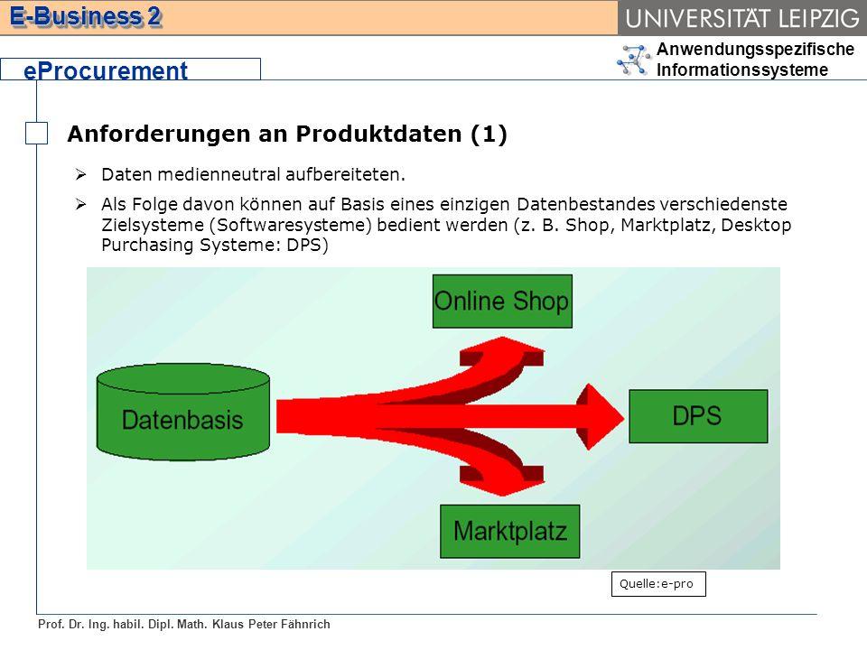Anwendungsspezifische Informationssysteme Prof. Dr. Ing. habil. Dipl. Math. Klaus Peter Fähnrich E-Business 2 Anforderungen an Produktdaten (1) eProcu
