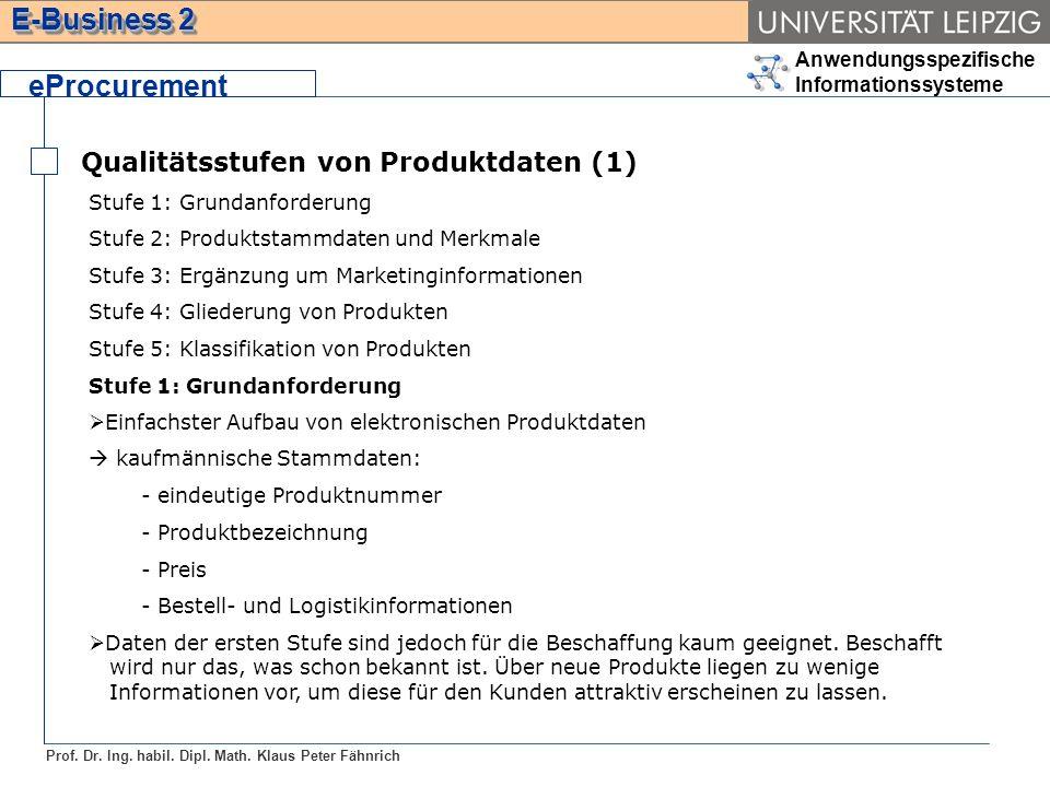 Anwendungsspezifische Informationssysteme Prof. Dr. Ing. habil. Dipl. Math. Klaus Peter Fähnrich E-Business 2 Qualitätsstufen von Produktdaten (1) ePr